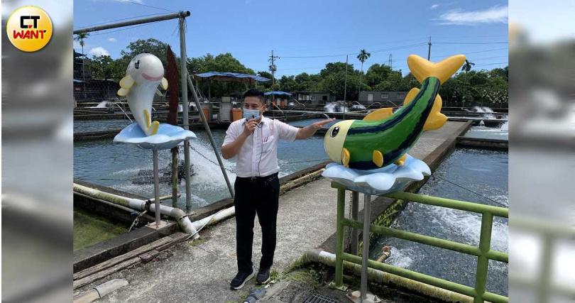 八甲魚場的觀光魚塭導覽,可認識食材產地、增加食客知識。(圖/官其蓁攝)