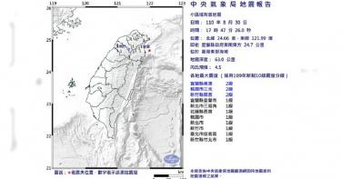 地牛翻身!宜蘭下午5:47規模4.5地震 北部縣市有感
